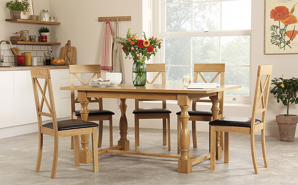 Devonshire Oak Dining Table with 6 Kendal Chairs (Brown Seat Pad)