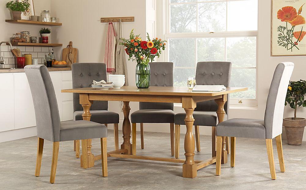 Devonshire Oak Dining Table with 6 Regent Grey Velvet Chairs