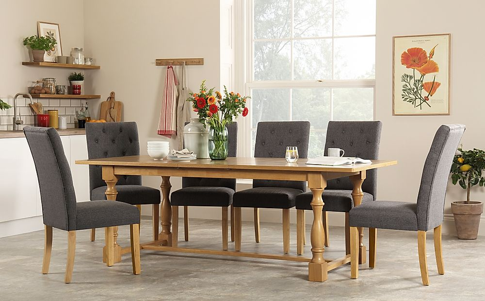 Devonshire Oak Extending Dining Table with 4 Hatfield Slate Fabric Chairs
