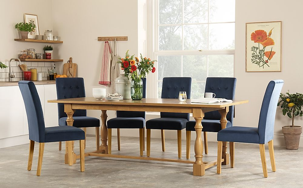 Devonshire Oak Extending Dining Table with 4 Regent Blue Velvet Chairs