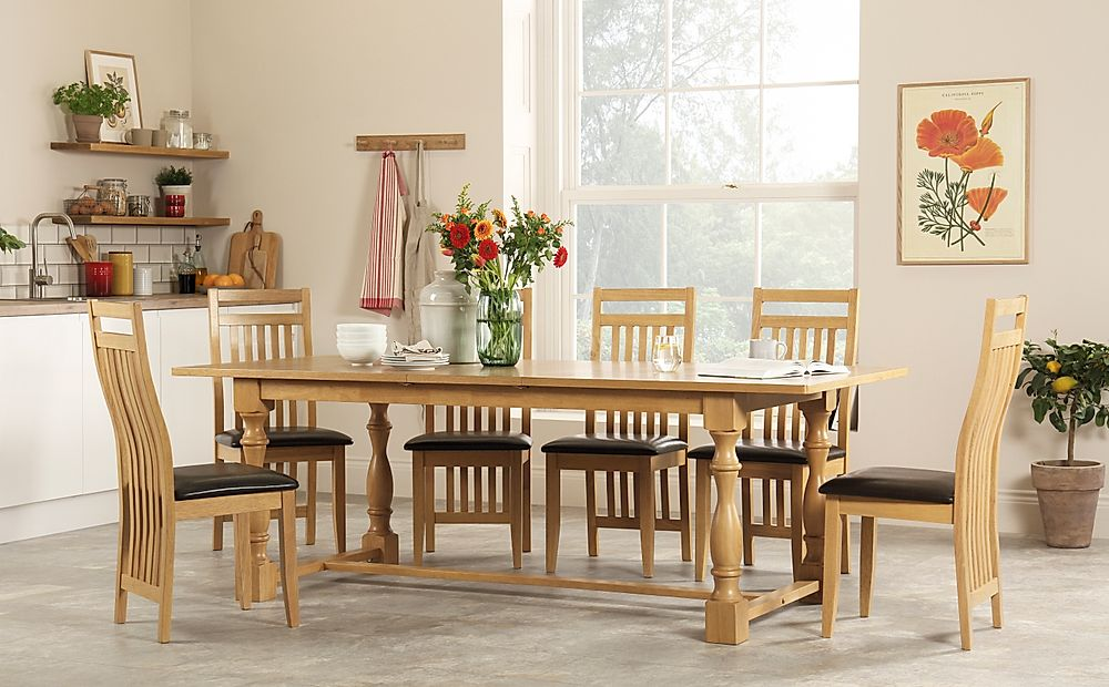 Devonshire Oak Extending Dining Table with 6 Bali Chairs (Brown Leather Seat Pads)