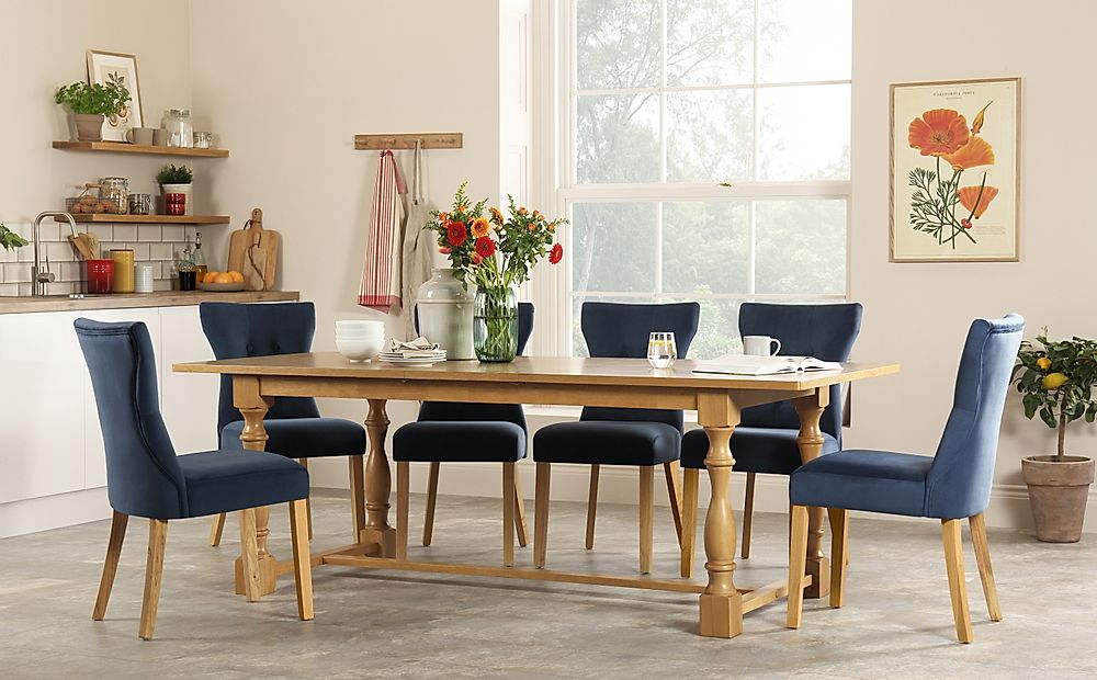 Devonshire Oak Extending Dining Table with 6 Bewley Blue Velvet Chairs