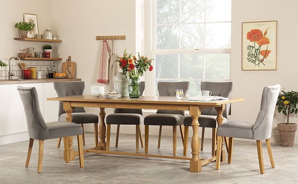 Devonshire Oak Extending Dining Table with 6 Bewley Grey Velvet Chairs