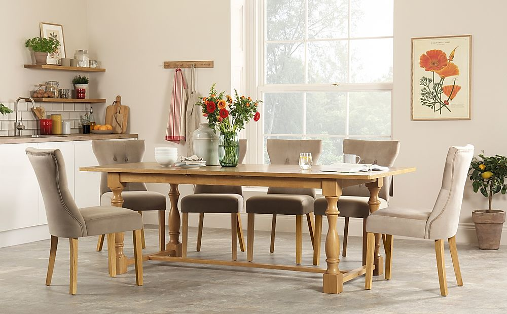 Devonshire Oak Extending Dining Table with 6 Bewley Mink Velvet Chairs