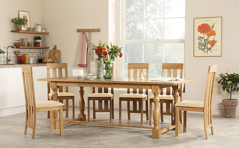 Devonshire Oak Extending Dining Table with 6 Chester Chairs (Ivory Leather Seat Pads)