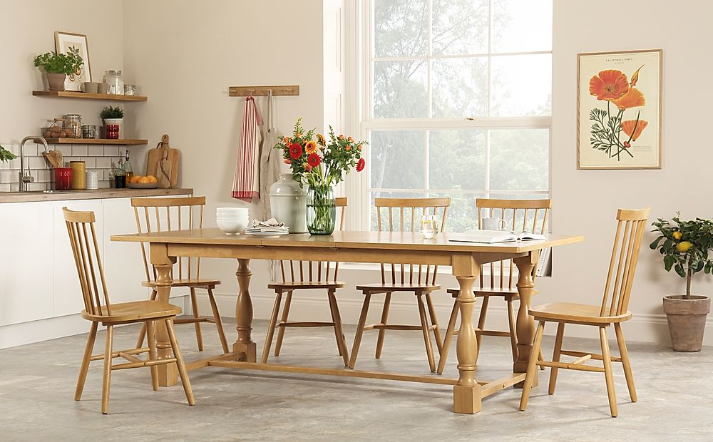 Devonshire Oak Extending Dining Table with 6 Pendle Chairs