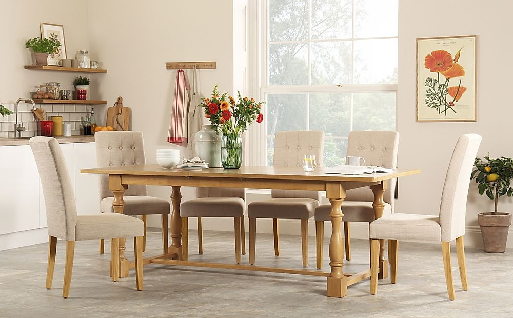 Devonshire Oak Extending Dining Table with 6 Regent Oatmeal Fabric Chairs