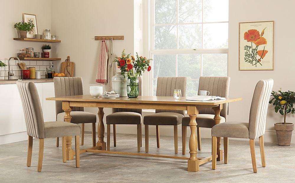 Devonshire Oak Extending Dining Table with 6 Salisbury Mink Velvet Chairs