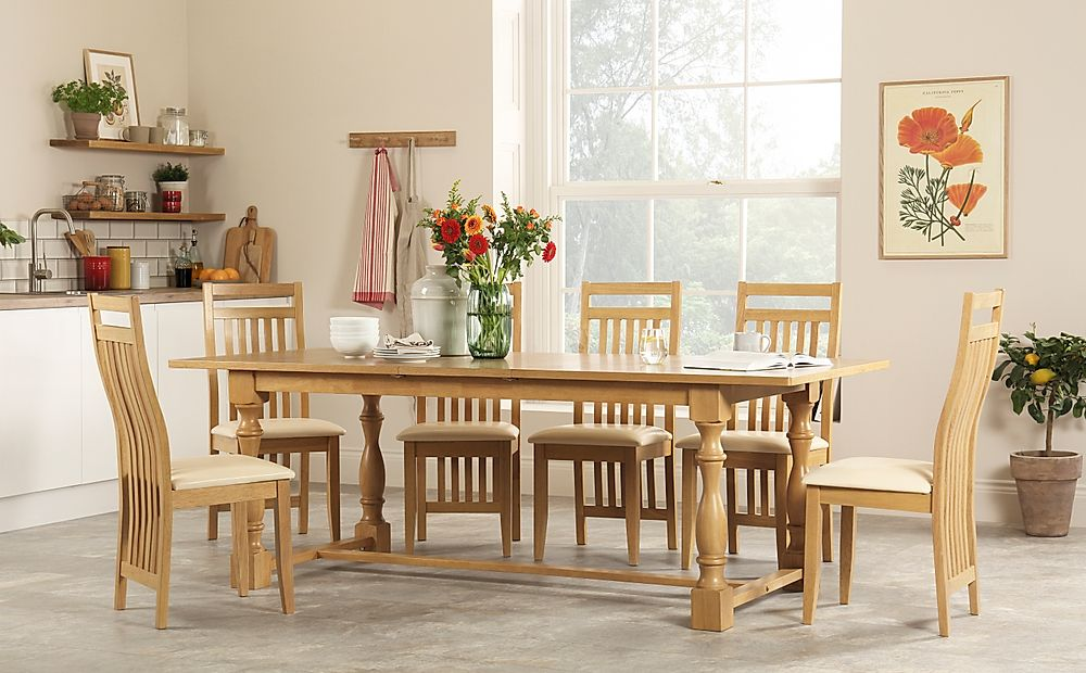 Devonshire Oak Extending Dining Table with 8 Bali Chairs (Ivory Leather Seat Pads)