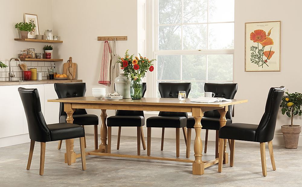 Devonshire Oak Extending Dining Table with 8 Bewley Black Leather Chairs