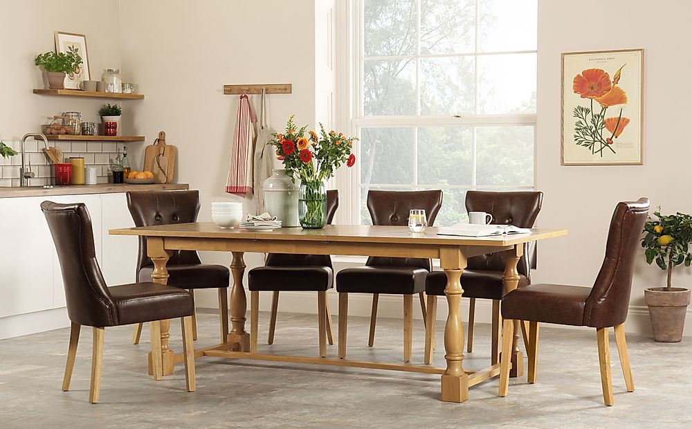 Devonshire Oak Extending Dining Table with 8 Bewley Club Brown Leather Chairs
