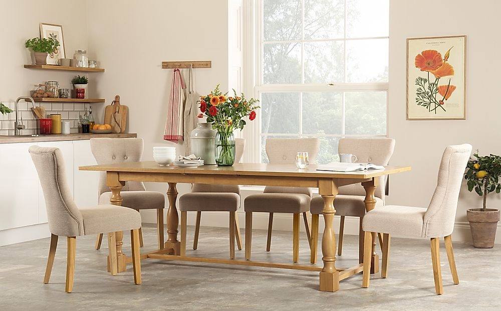 Devonshire Oak Extending Dining Table with 8 Bewley Oatmeal Fabric Chairs