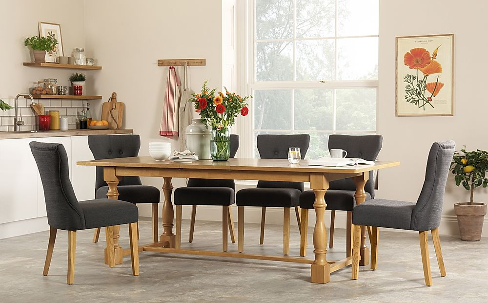 Devonshire Oak Extending Dining Table with 8 Bewley Slate Fabric Chairs