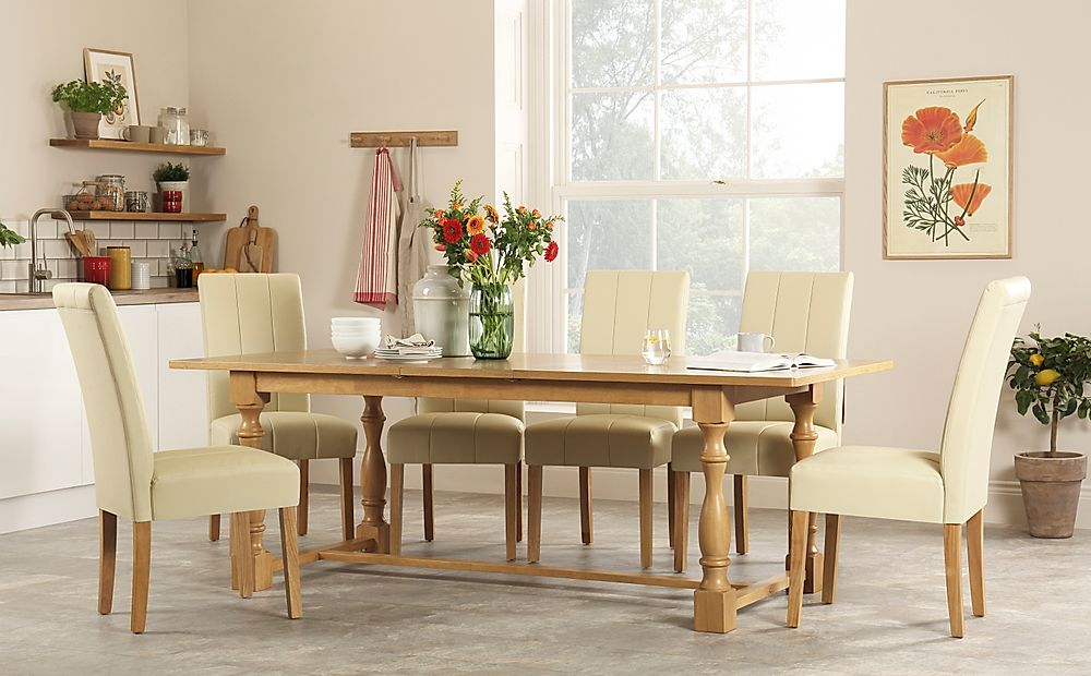 Devonshire Oak Extending Dining Table with 8 Carrick Ivory Leather Chairs