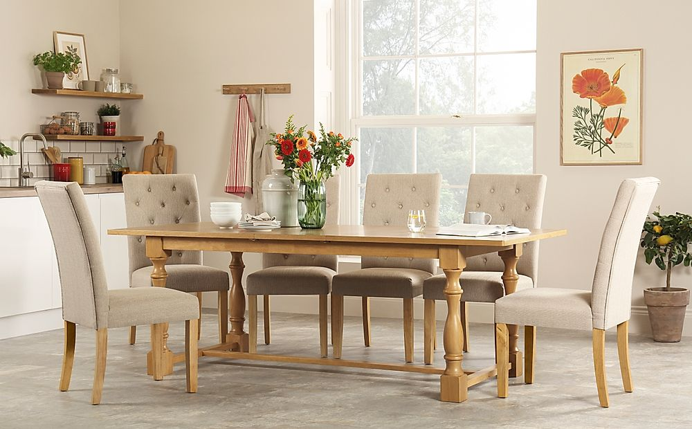 Devonshire Oak Extending Dining Table with 8 Hatfield Oatmeal Fabric Chairs