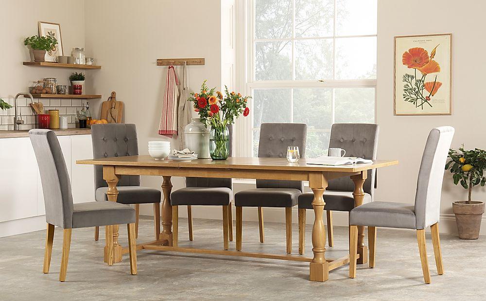 Devonshire Oak Extending Dining Table with 8 Regent Grey Velvet Chairs