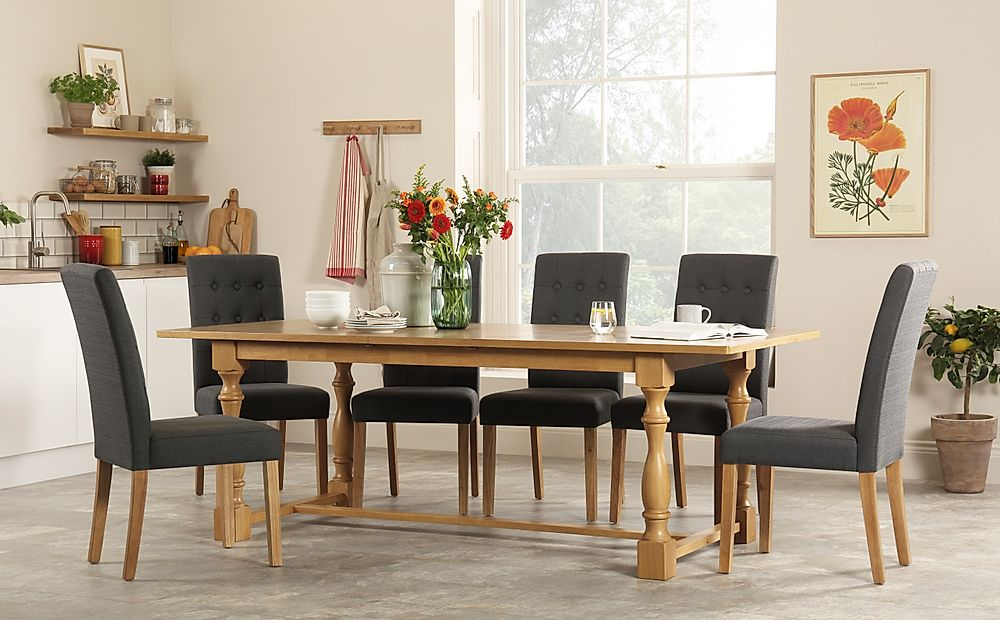 Devonshire Oak Extending Dining Table with 8 Regent Slate Fabric Chairs