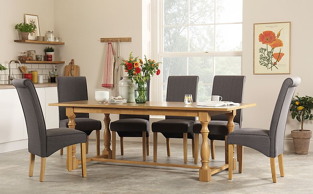 Devonshire Oak Extending Dining Table with 8 Stamford Slate Fabric Chairs