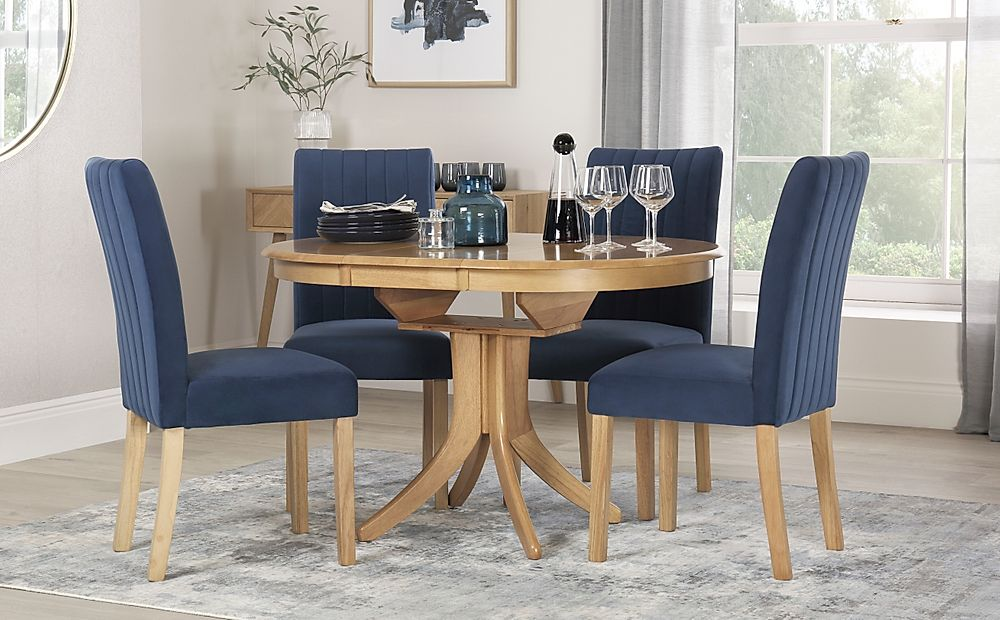 Hudson Round Oak Extending Dining Table with 6 Salisbury Blue Velvet Chairs