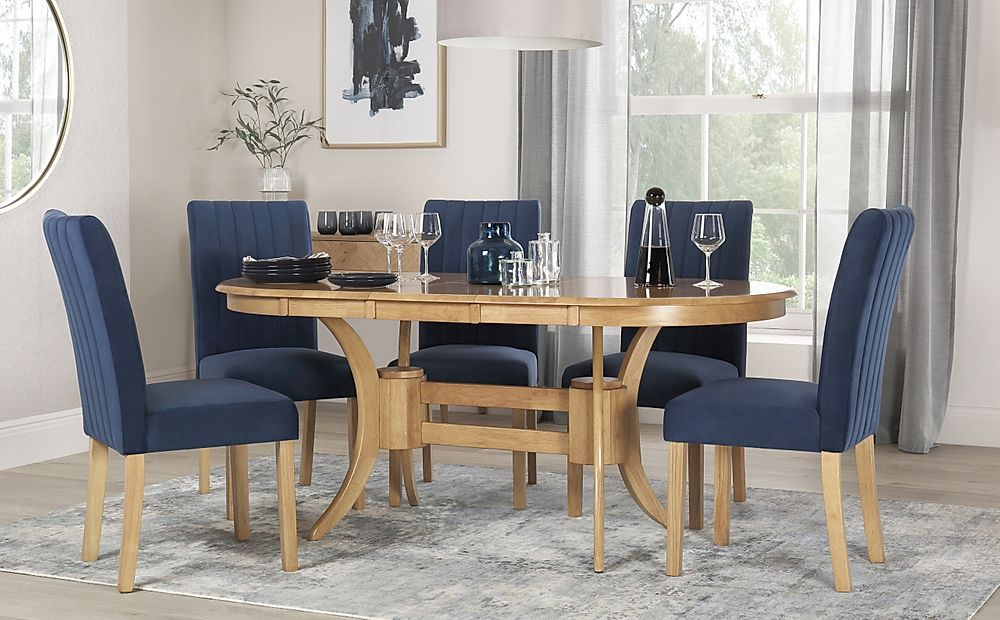 Townhouse Oval Oak Extending Dining Table with 4 Salisbury Blue Velvet Chairs