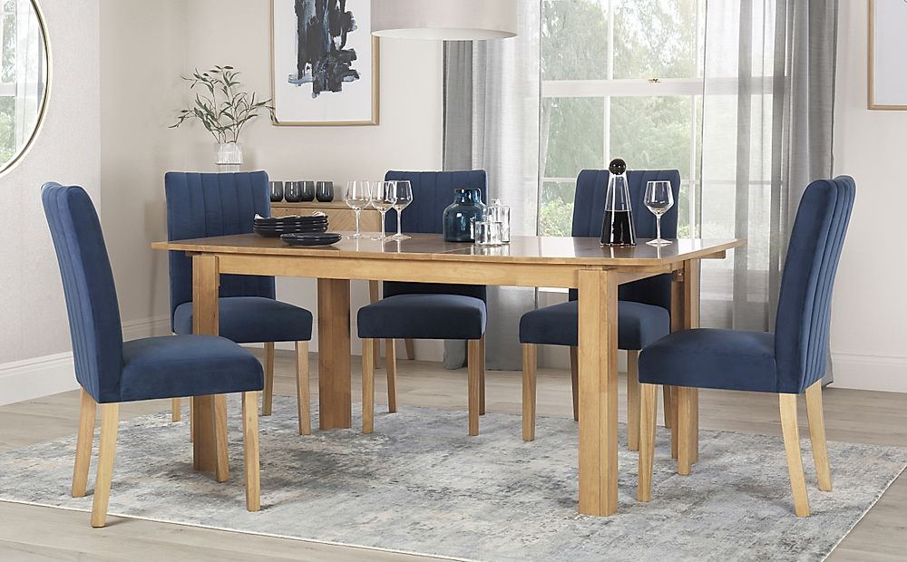 Bali Oak Extending Dining Table with 4 Salisbury Blue Velvet Chairs