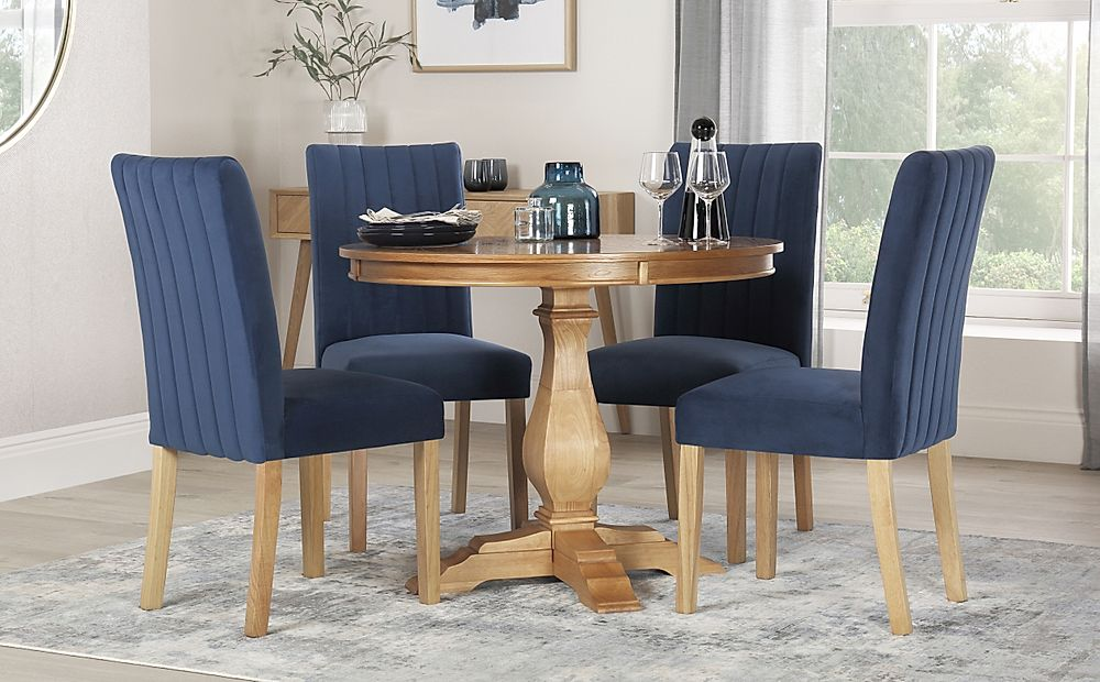 Cavendish Round Oak Dining Table with 4 Salisbury Blue Velvet Chairs