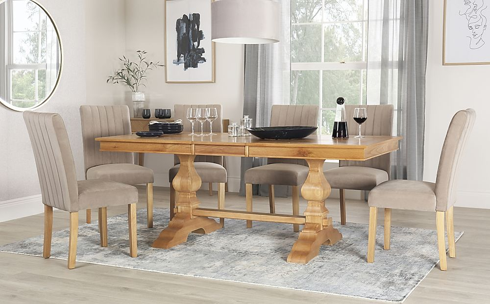Cavendish Oak Extending Dining Table with 6 Salisbury Mink Velvet Chairs