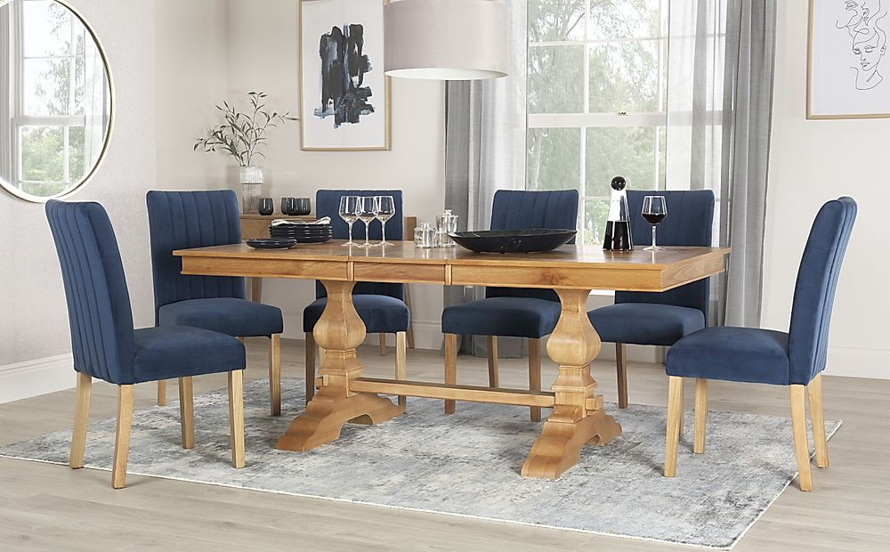 Cavendish Oak Extending Dining Table with 6 Salisbury Blue Velvet Chairs