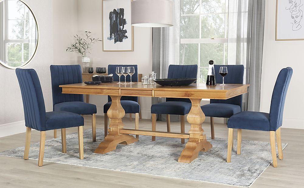 Cavendish Oak Extending Dining Table with 8 Salisbury Blue Velvet Chairs