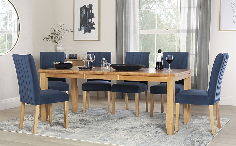 Highbury Oak Extending Dining Table with 6 Salisbury Blue Velvet Chairs