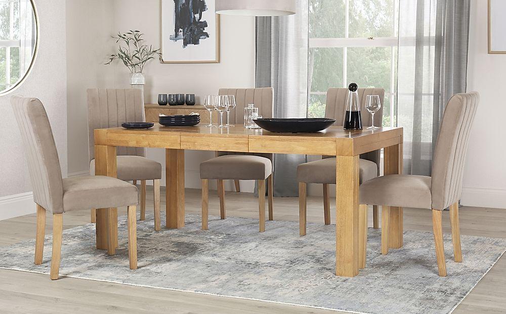 Cambridge 125-170cm Oak Extending Dining Table with 6 Salisbury Mink Velvet Chairs