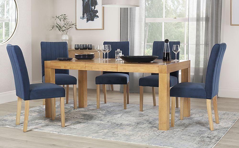 Cambridge 125-170cm Oak Extending Dining Table with 6 Salisbury Blue Velvet Chairs