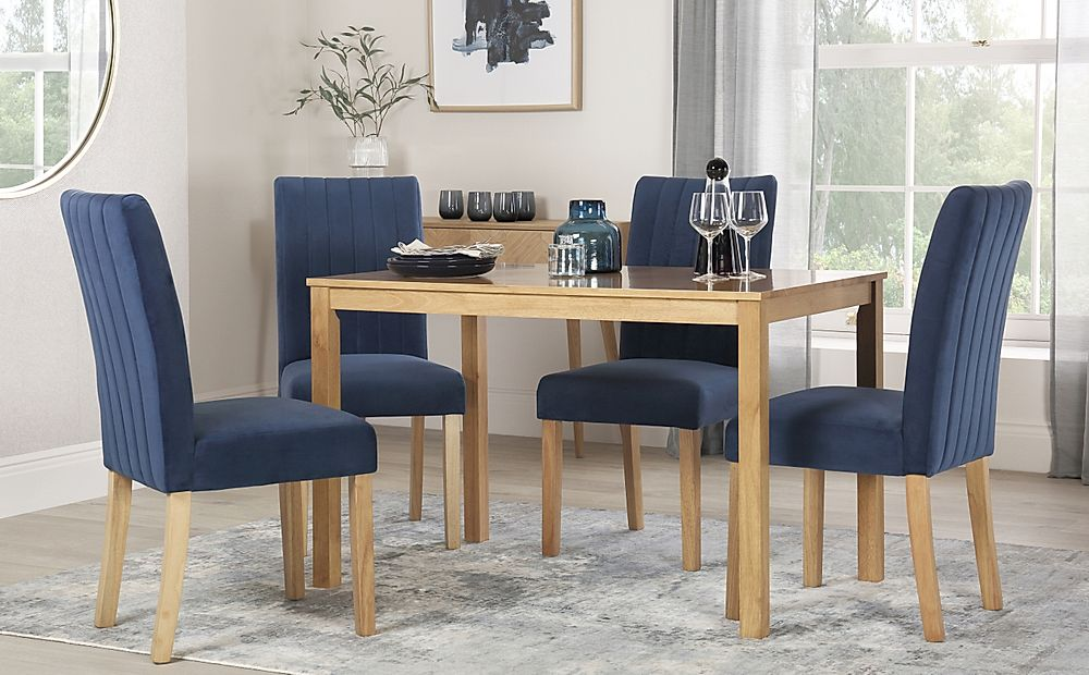 Milton Oak Dining Table with 4 Salisbury Blue Velvet Chairs
