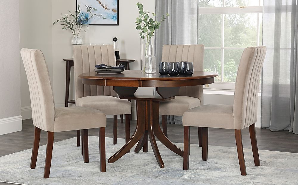 Hudson Round Dark Wood Extending Dining Table with 6 ...