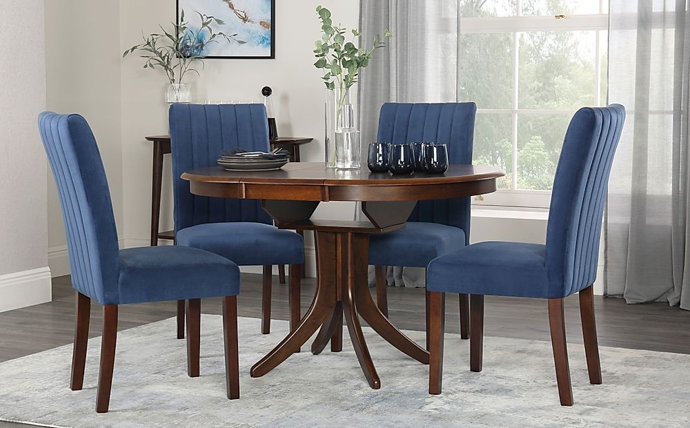 Hudson Round Dark Wood Extending Dining Table with 4 Salisbury Blue Velvet Chairs