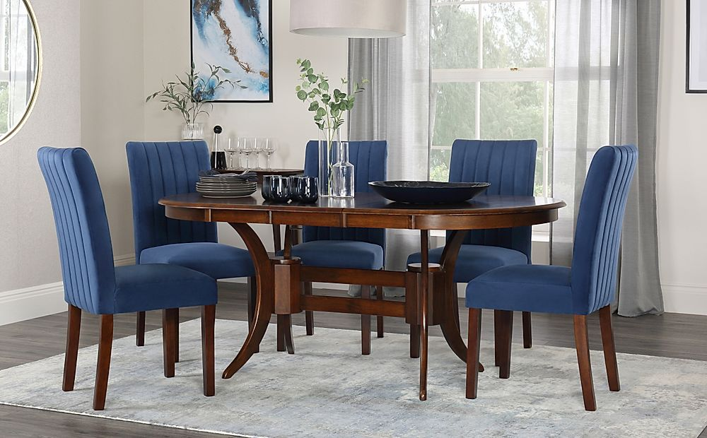 Townhouse Oval Dark Wood Extending Dining Table with 4 Salisbury Blue Velvet Chairs
