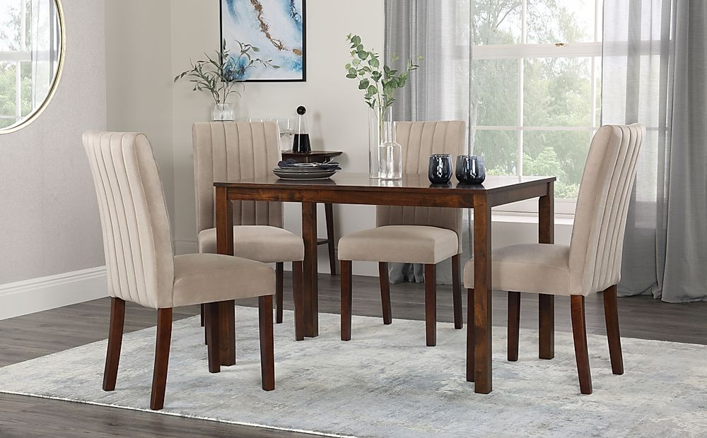 Milton Dark Wood Dining Table with 4 Salisbury Mink Velvet Chairs