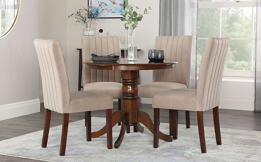 Kingston Round Dark Wood Dining Table with 4 Salisbury Mink Velvet Chairs