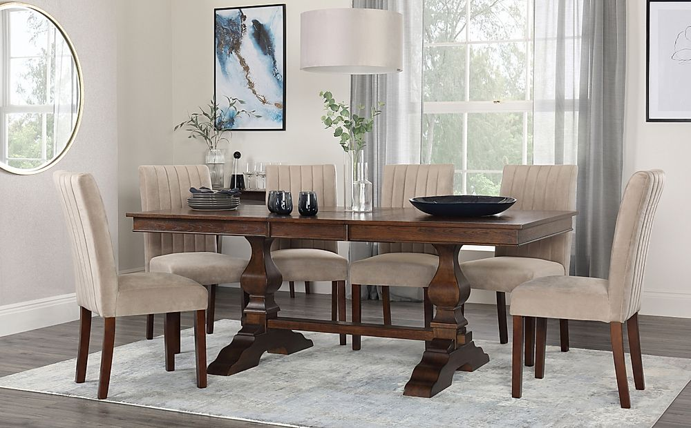 Cavendish Dark Wood Extending Dining Table with 6 Salisbury Mink Velvet Chairs