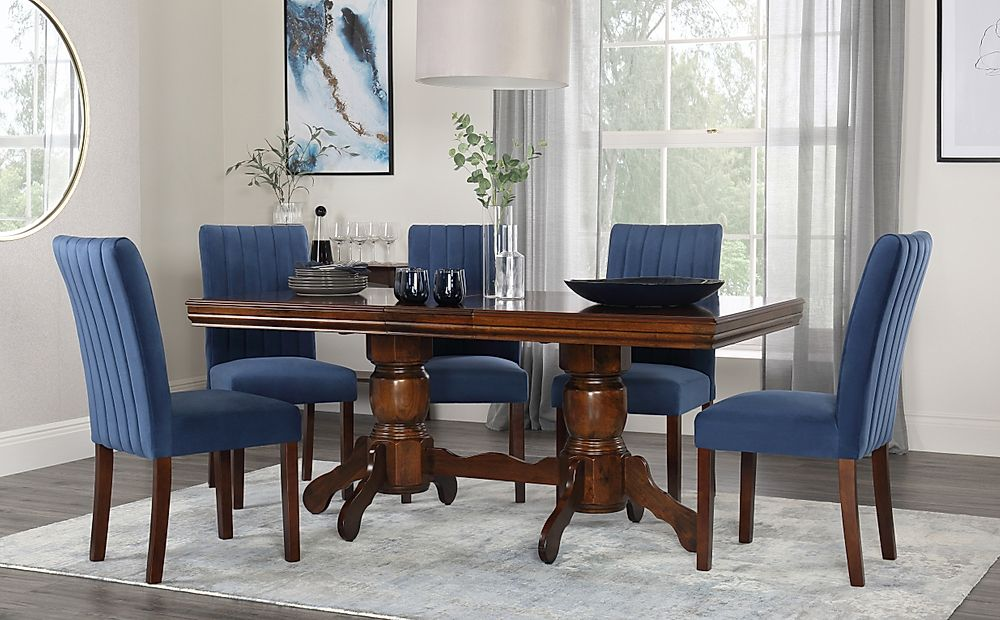 Chatsworth Dark Wood Extending Dining Table with 4 Salisbury Blue Velvet Chairs