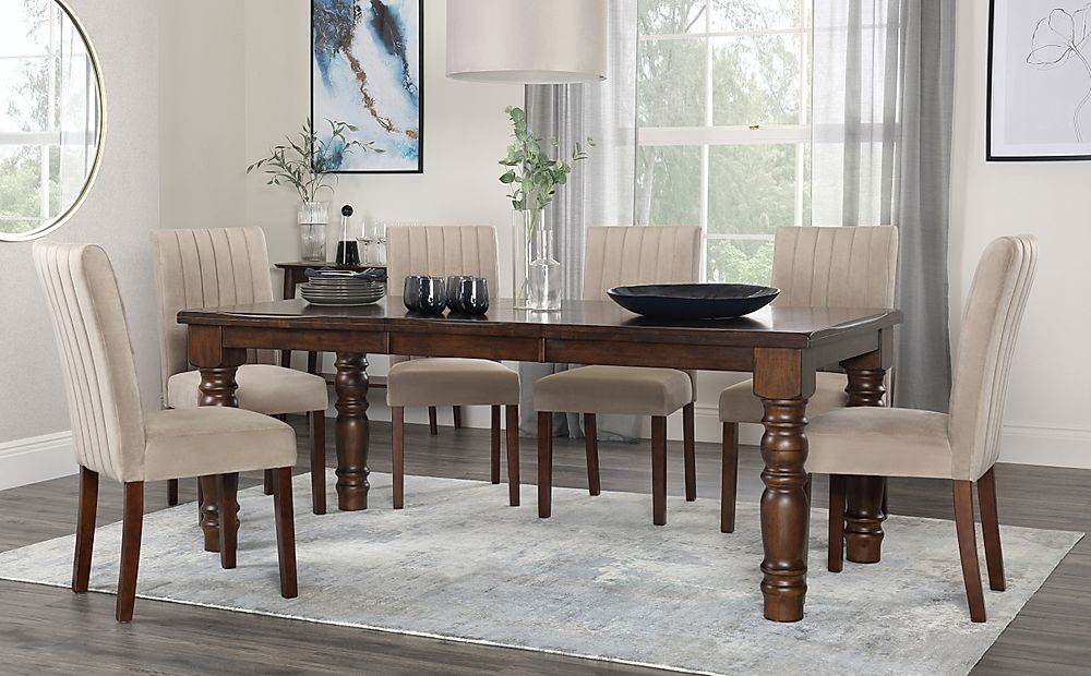 Hampshire Walnut Extending Dining Table with 8 Salisbury Mink Velvet Chairs