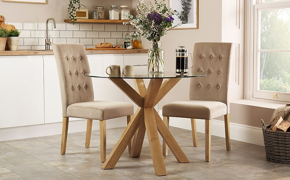 Hatton Round Oak and Glass Dining Table with 2 Regent Mink Velvet Chairs