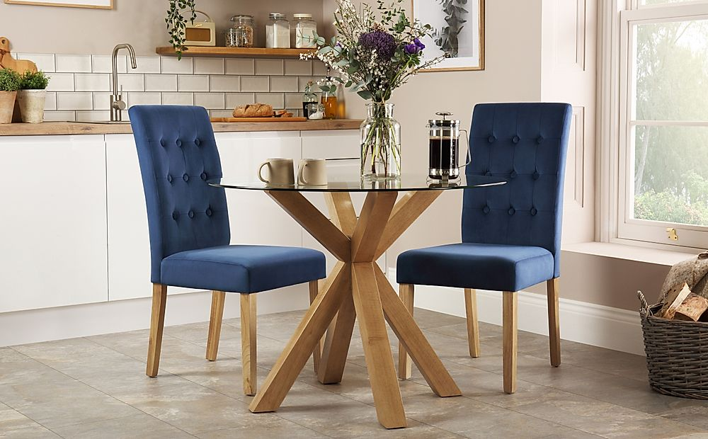 Hatton Round Oak and Glass Dining Table with 2 Regent Blue Velvet Chairs