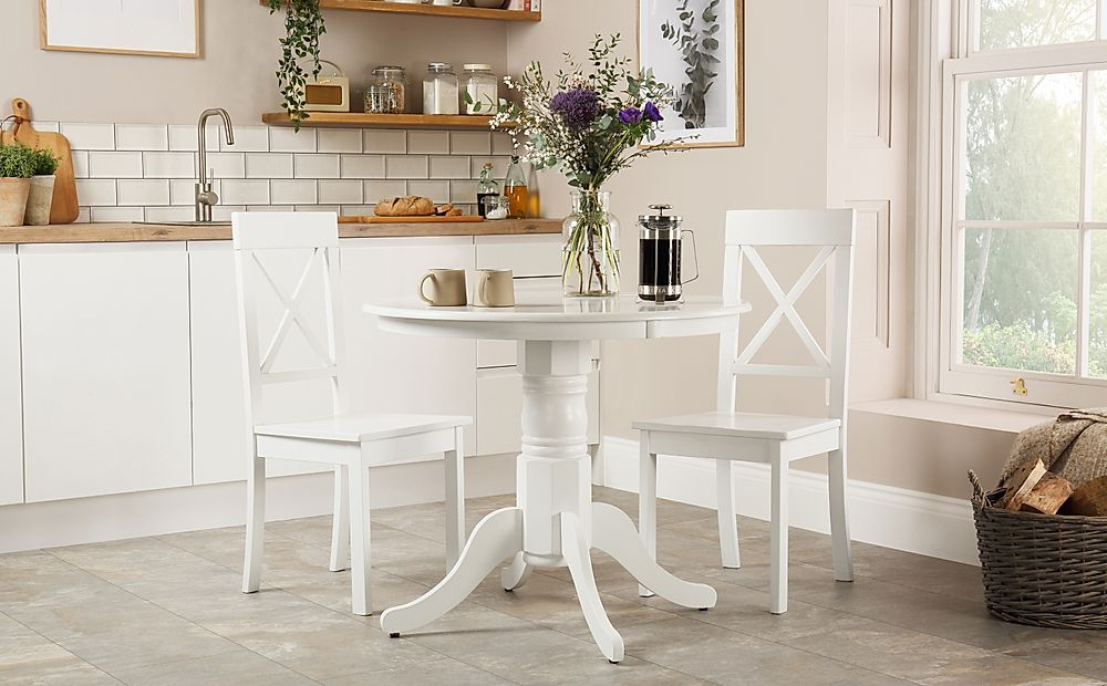 Kingston Round White Dining Table with 2 Kendal Chairs