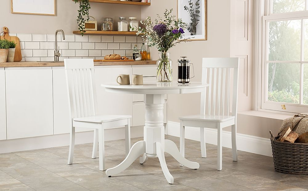 Kingston Round White Dining Table with 2 Oxford Chairs