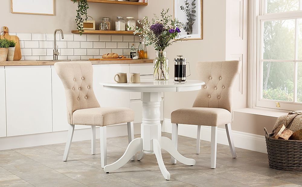 Kingston Round White Dining Table with 2 Bewley Oatmeal Chairs