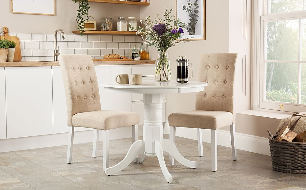 Kingston Round White Dining Table with 2 Regent Oatmeal Fabric Chairs