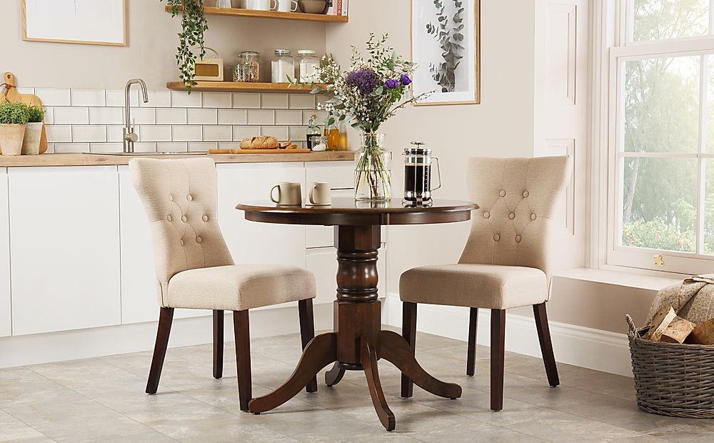 Kingston Round Dark Wood Dining Table with 2 Bewley Oatmeal Fabric Chairs