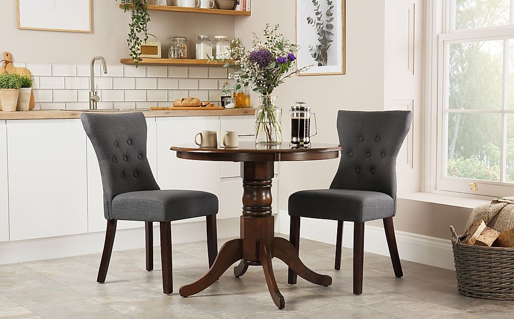 Kingston Round Dark Wood Dining Table with 2 Bewley Slate Fabric Chairs