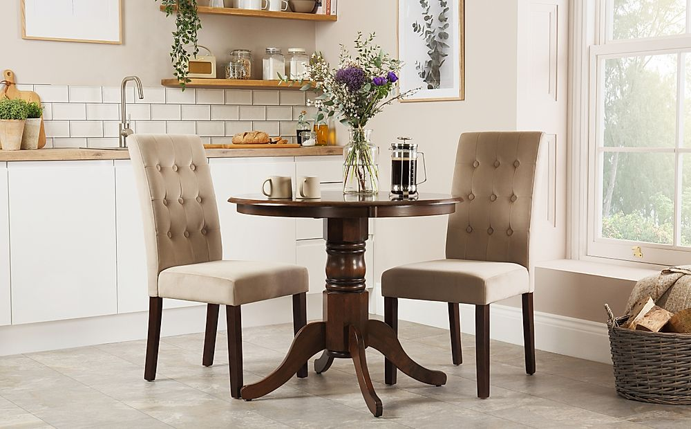 Kingston Round Dark Wood Dining Table with 2 Regent Mink Velvet Chairs